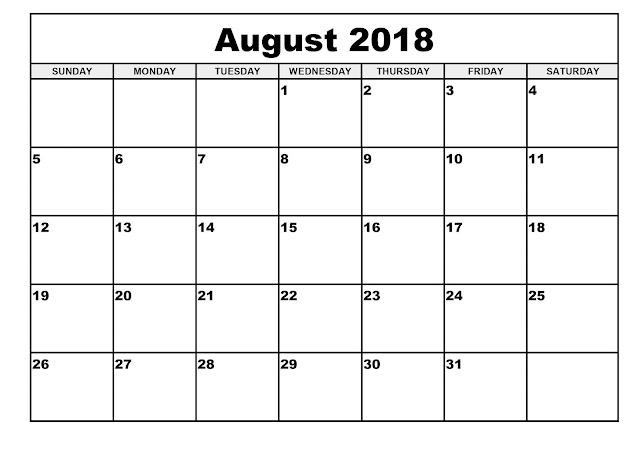 August 2018 calendar edit