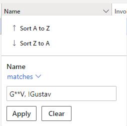 Filter by matches G**V, !Gustav