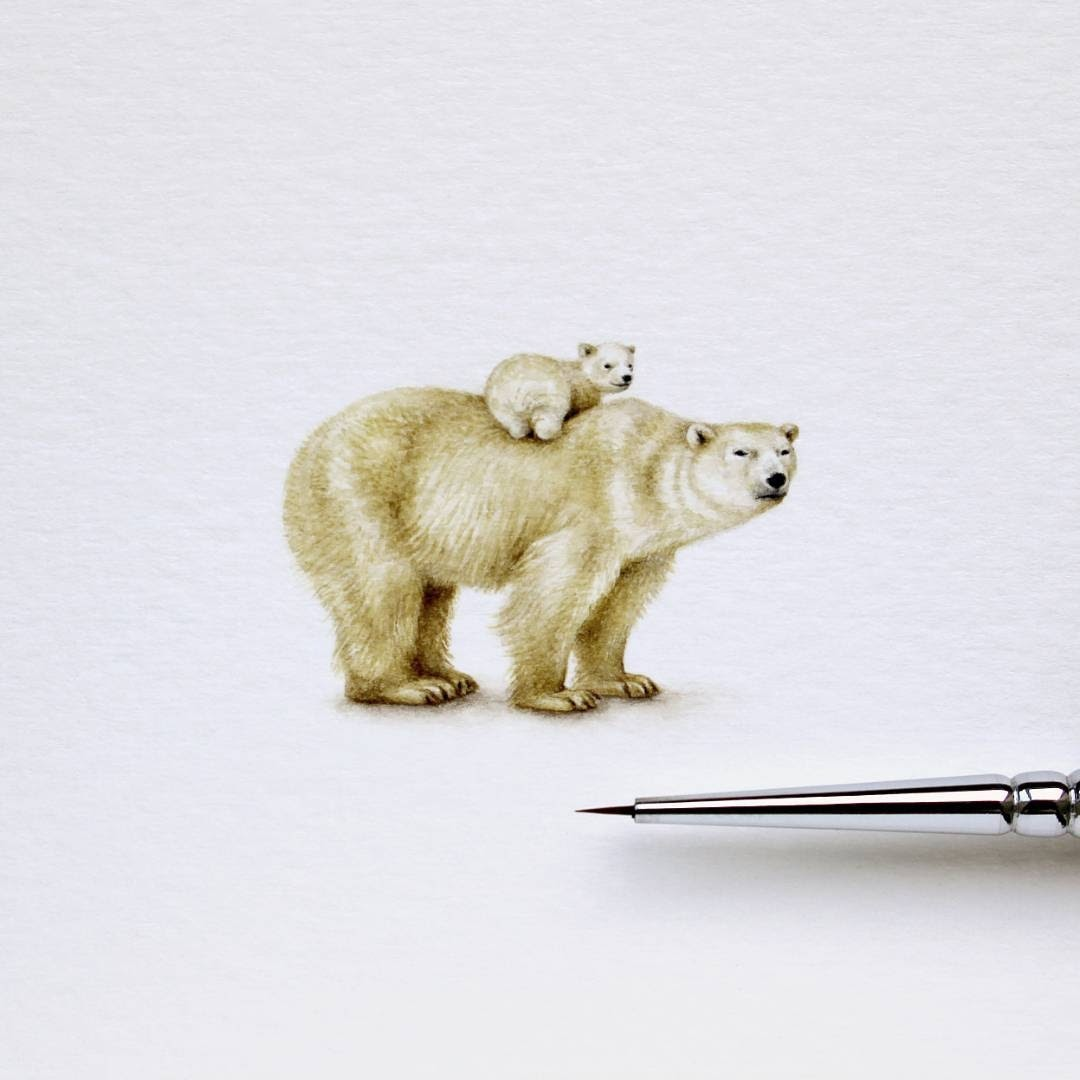 08-Polar-Bear-and-Baby-Julia-Las-Miniature-3-cm-Paintings-of-Wild-Animals-www-designstack-co