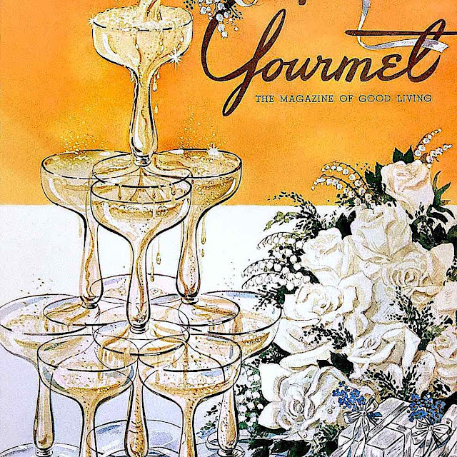 a Henry J. Stahlhut illustration of a fountain of champagne glasses