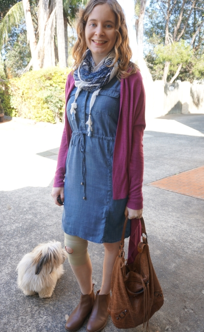Jeanswest Rachel Lyocell chambray dress spring 2015 purple cardi ankle boots