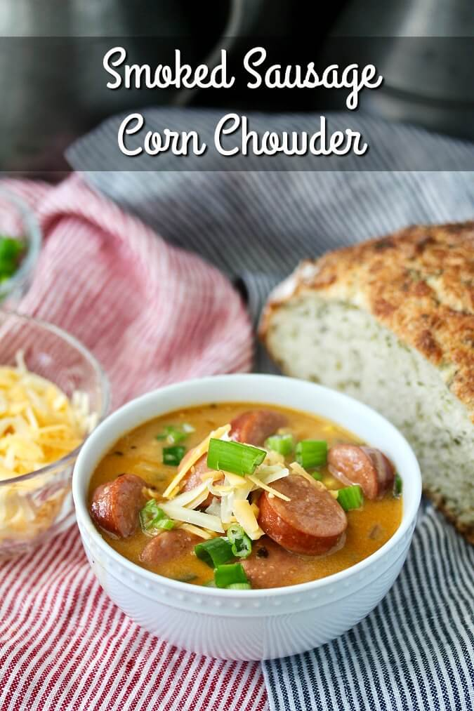 This beer brat (or smoked sausage) corn chowder is a delicious midwestern-style soup. It's loaded with sausage, corn, cheese, and beer. It's creamy, cheesy, and hearty.