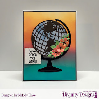 Divinity Designs Stamp Set: Color My World, Custom Dies: Globe & Stand, Bitty Blooms, Bitty Blossoms, Double Stitched Squares, Paper Collection: By the Shore Collection