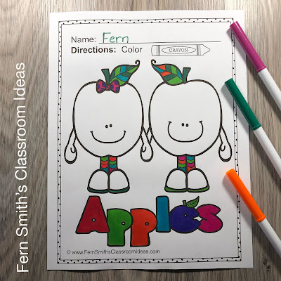 Apple Coloring Pages! #FernSmithsClassroomIdeas