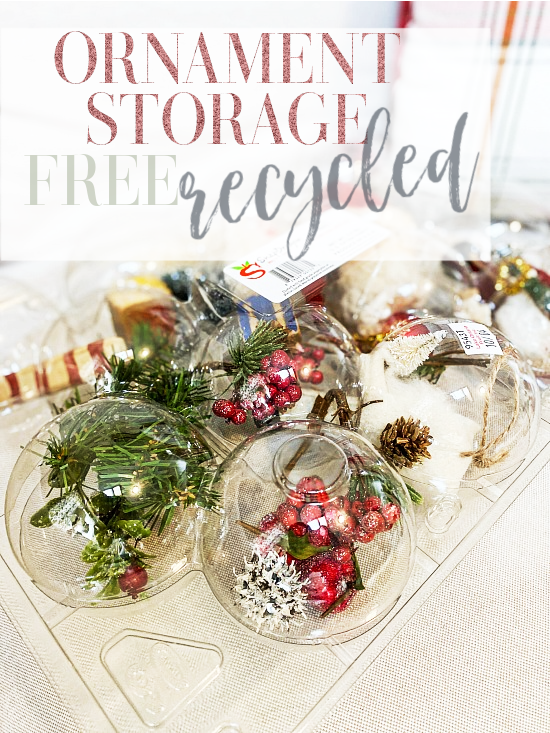 recycled Christmas ornament storage with overlay