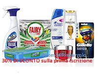 Logo Amazon ''Iscriviti e Risparmia '' : 30% di sconto immediato sui prodotti P&G