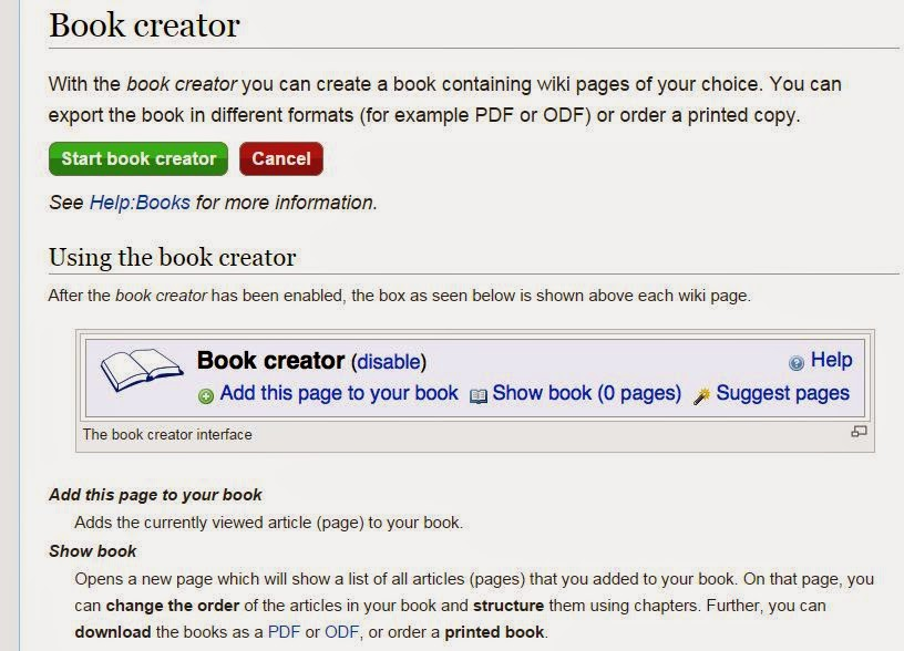 Press Wikipedia book creator button