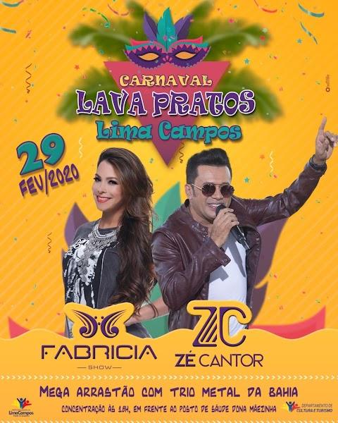 Uma grande festa com Zé Cantor e Fabrícia aguarda você no Lava-Pratos de Lima Campos