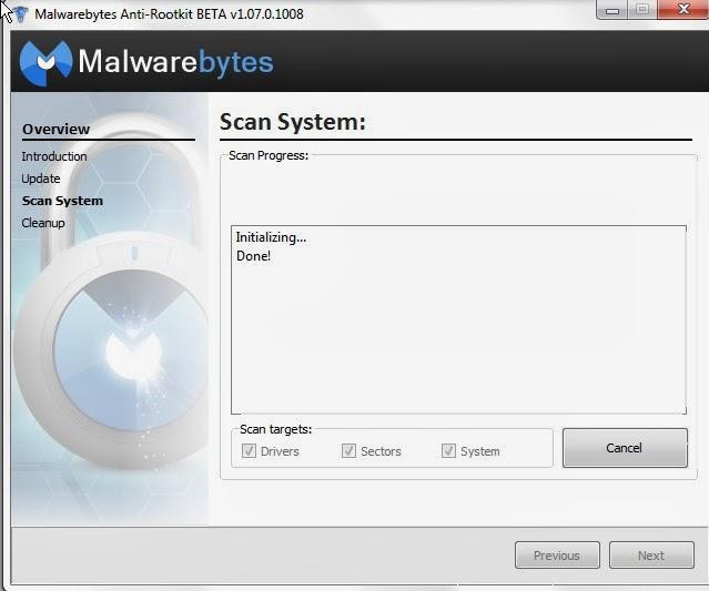 Malware Bytes  Anti-RootKit pegue o virus oculto