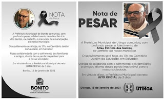 Luto: Morre Alfeu Patrício, ex-prefeito de Utinga e Bonito