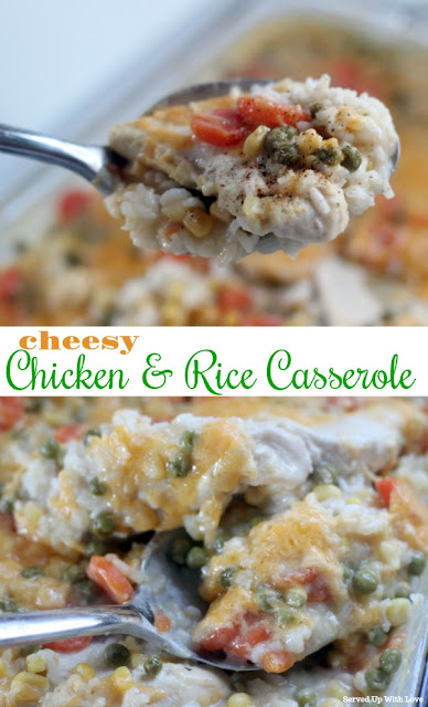 Comforting and Cheesy Chicken & Rice Casserole is an easy recipe the entire family will enjoy.