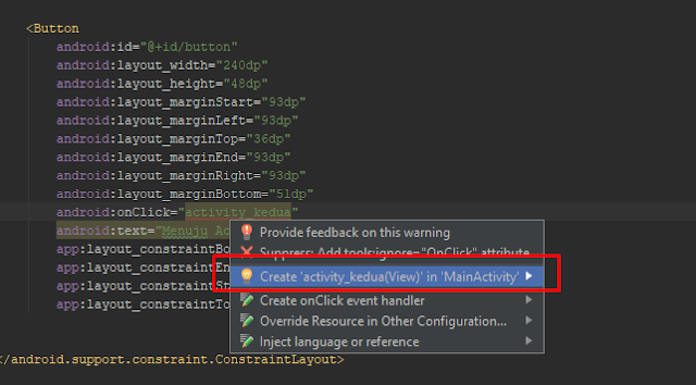 menjalankan activity lain dengan botton di android studio