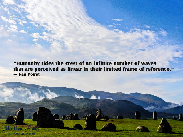 """""""humanity rides the crest of an infinite number of waves that are perceived as linear in their limited frame of reference."""" ― Ken Poirot"""