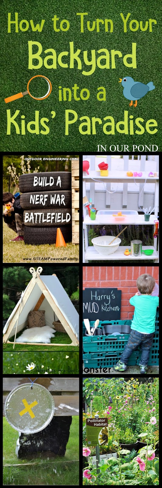 How to Turn Your Backyard into a Kids' Paradise from In Our Pond  #summer #garden #backyard #letthechildreplay #fun #summerfun #playiswork #summerbreak #yard #diy #crafts #crafting #modify #upcycle #recycle #reuse