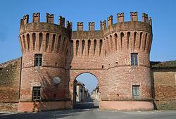 One of the three gateways into the  historic village of Rivarolo Mantovano