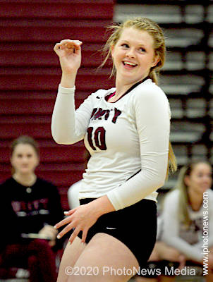 Abby Maxwell smiles after a point for the Rockets