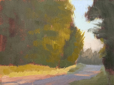 mini painting color study evening sun on roadside trees May 26 2019