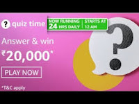 Amazon Quiz Answers Time Daily @ 24 HRS on 05 Mar 2021 Win 20,000 Pay Balance