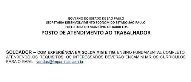 VAGAS DE EMPREGO DO PAT BARRETOS-SP PARA 18-06-2020 QUINTA-FEIRA