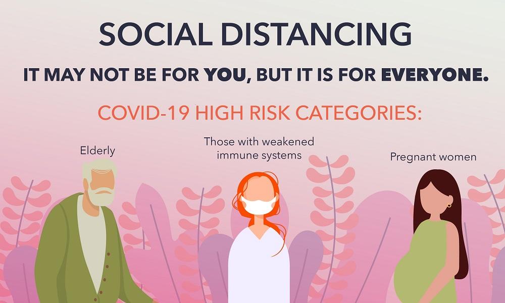 ilustrasi himbauan social distancing