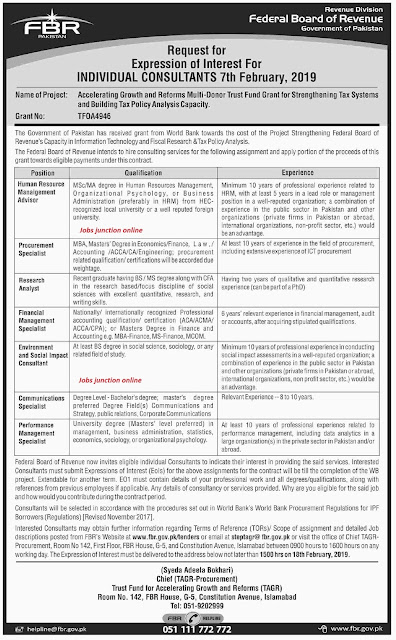Federal Board of Revenue (FBR) Latest New Jobs 2019 by Govt Of Pakistan
