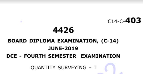 sbtet diploma Quantity Surveying-1 Model Question Paper c14 June 2019