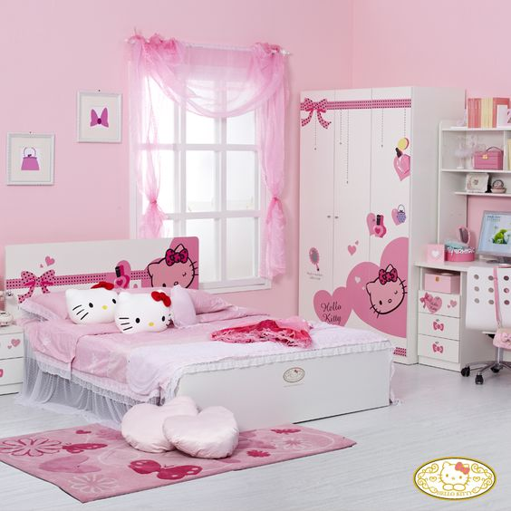 dekorasi kamar tidur remaja cewek bertema pink paling