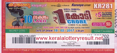 Karunya Lottery KR 288 Results 8.4.2017 | kerala lottery results