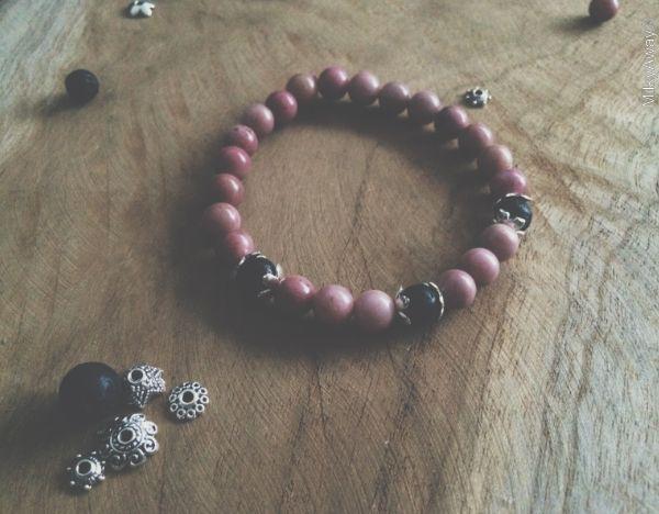 Bracelet en pierre de rhodonite et ses perles de lave My Roller Stone