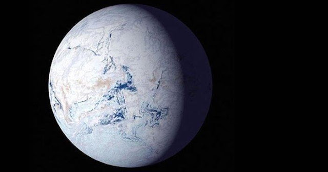 About 700 million years ago, runaway glaciers covered the entire planet in ice. Harvard researchers modeled the conditions that may have led to this so-called 'snowball Earth'. Credit: NASA