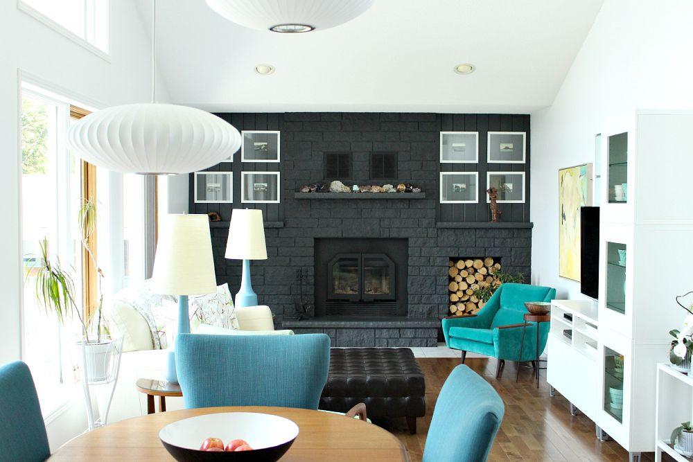 Dark Grey Painted Brick Fireplace