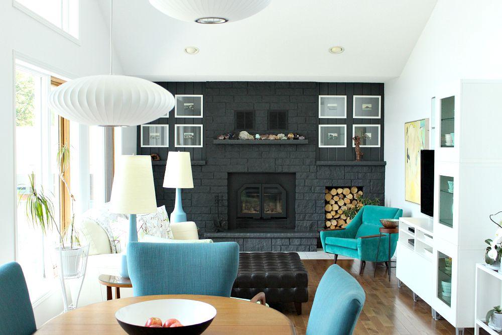 Dark Grey Painted Brick Fireplace