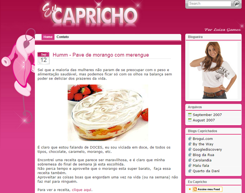 Layout antigo blog eu capricho