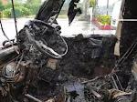 Mobil Pick Up Pengangkut Buah Terbakar dan Terbalik, Diduga Sang Supir Ugal-Ugalan Dijalan