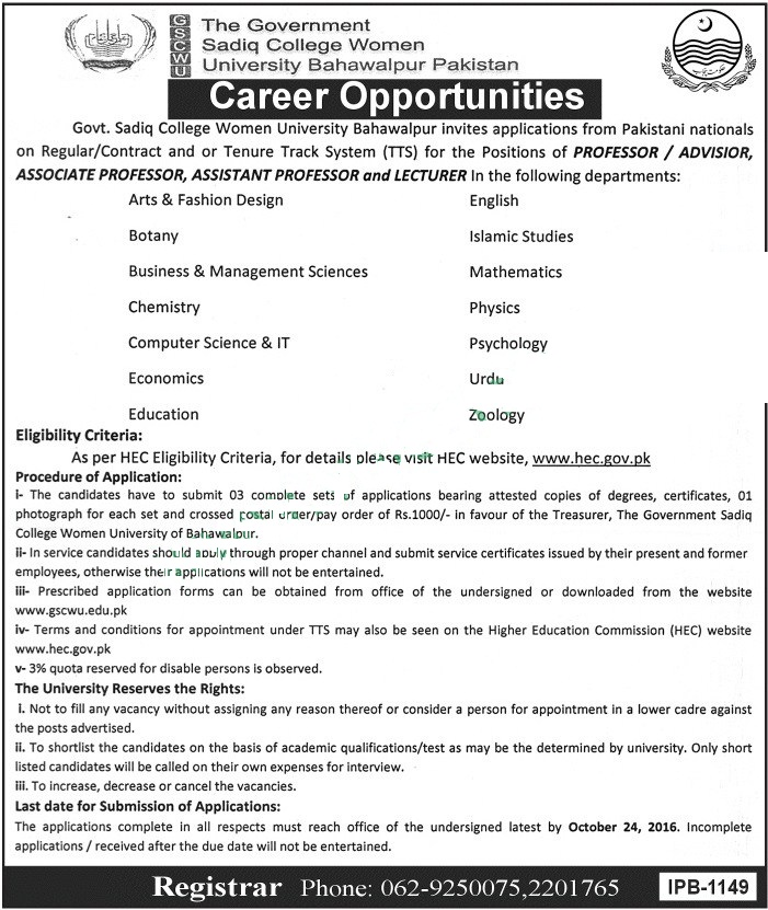 Teachers jobs in Government Sadiq College Women University Bahawalpur