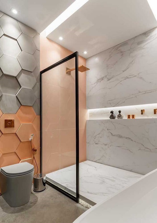 The colors of the 3D bathroom tile bring joy to the space