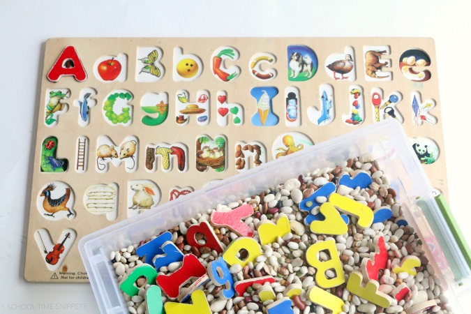 puzzle piece sensory bin for kids