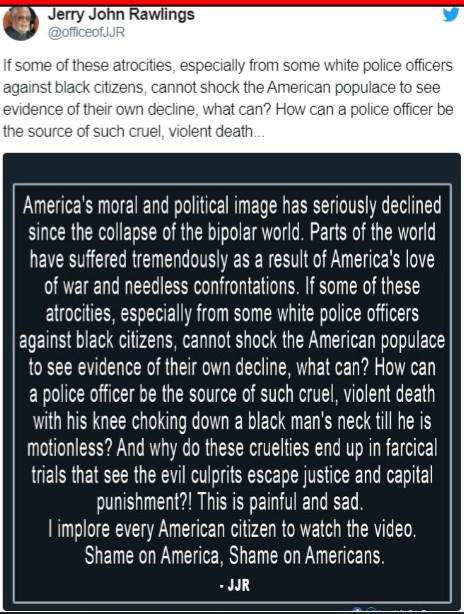 Shame on America – Rawlings condemns racist killing in Minnesota 2