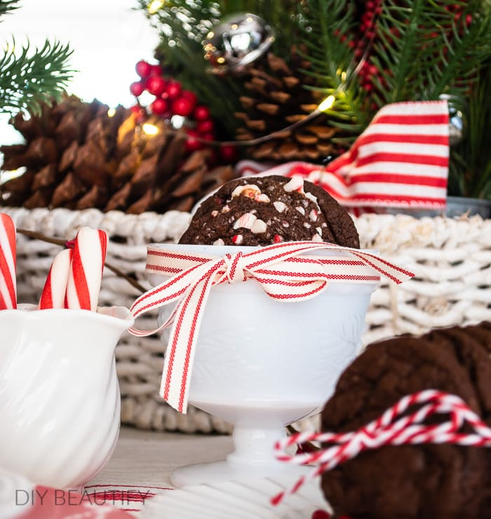 Christmas cookies on decorated holiday table
