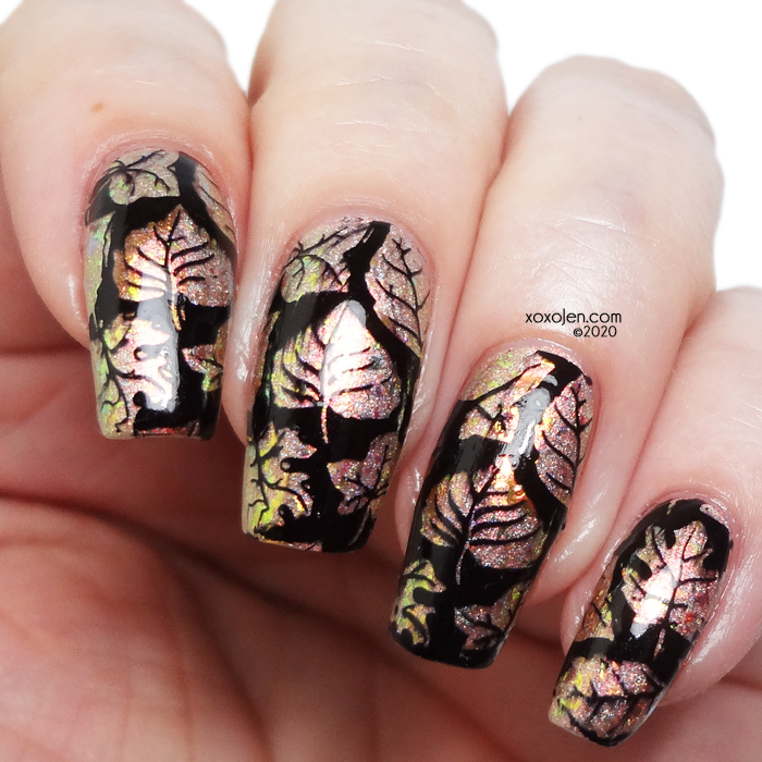 xoxoJen's swatch of KBShimmer Sol Amazing over Shamash Hit with stamping