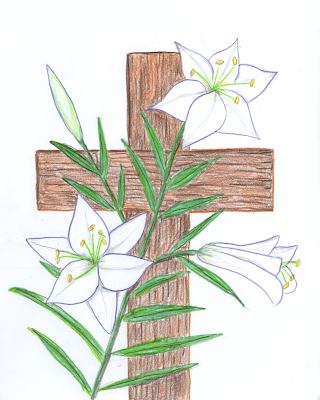Easter lilies with cross
