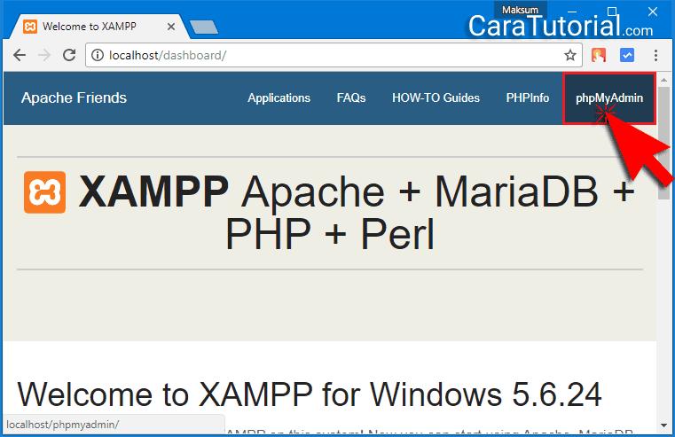 XAMPP localhost dashboard