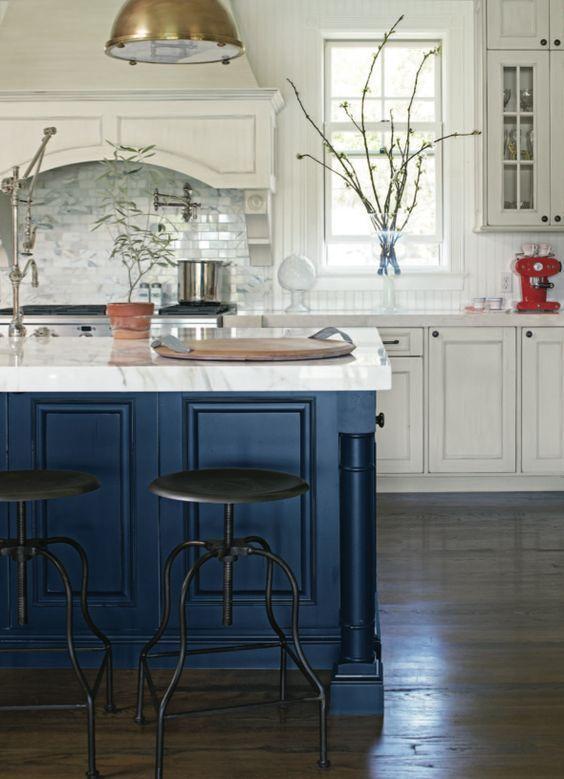 fotos de cozinhas azul escuro
