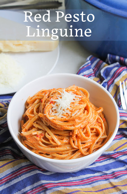 Food Lust People Love: Bright in color and flavor, this red pesto linguine is a spicy bowl of deliciousness made with anchovies and Fresno peppers. It's even great as leftovers so make the whole recipe.