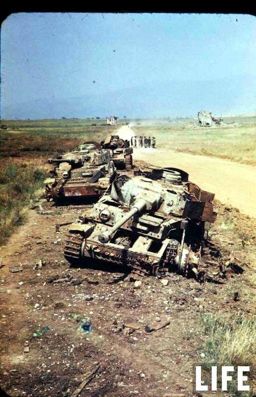 Destroyed German Panzer 4 tanks  Lanuvio Italy