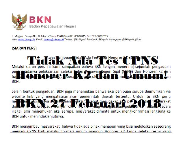 Tes CPNS Honorer K2 dan Umum 2018