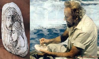 Πέτρα ζωγραφισμένη από τον ποιητή. Γιάννης Ρίτσος