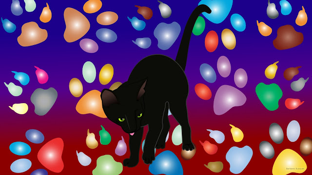 Zwarte kat en pootafdrukken