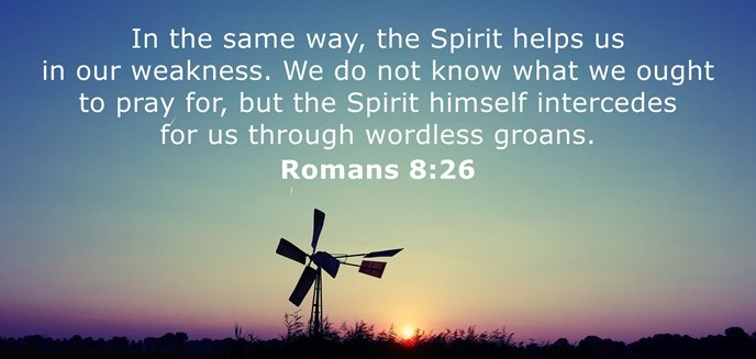 In the same way, the Spirit helps us in our weakness. We do not know what we ought to pray for, but the Spirit himself intercedes for us through wordless groans.