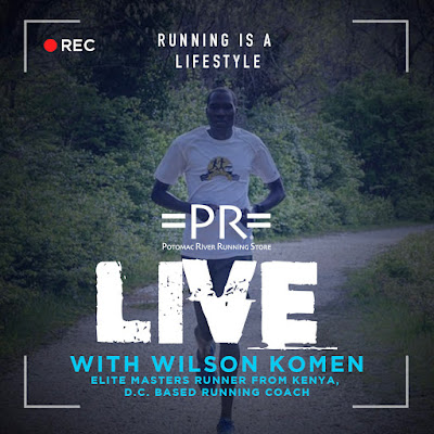 advertisement for PR Running's Instagram Live broadcast with Wilson Komen an elite masters runner from Kenya